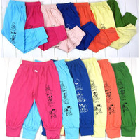 Free shipping 2015 New Boys Girls Lovely Bear Carton Leisure Pants Infant Clothing Baby Pants Pure Cotton Trousers Leggings