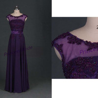 2014 grape chiffon prom dresses with applique lace,chic floor length gowns for holiday party,latest cheap bridesmand dress under 150.