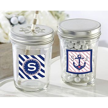 Personalized Glass Mason Jar - Kate's Nautical Bridal Shower Collection (Set of 12)