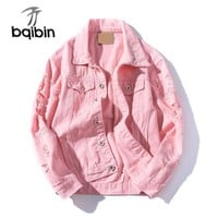 Frayed Hole Jeans Jacket Men Slim Fit Pink Bomber Jacket Mens Hip Pop Streetwear Jacket Men Button Spring Autumn
