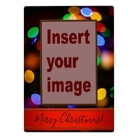 Multicoloured Christmas lights. Add photo and text Plaque