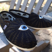 evil eye-hand painted on TOMS shoes-made to order