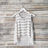 Summer Striped Chiffon Back Tank