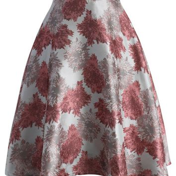 Flourish Blossoms A-line Skirt in Coral
