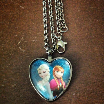 Elsa and Anna frozen movie heart necklace