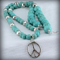 Turquoise Howlite Necklace with Sterling Silver Artisan Peace Pendant. Sassy. Girley.
