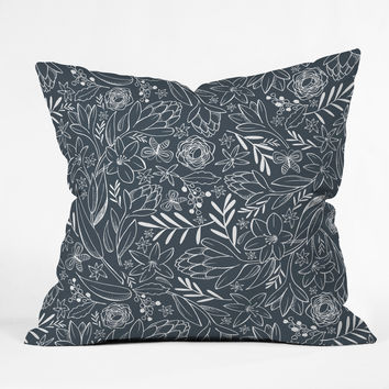Heather Dutton Botanical Sketchbook Midnight Throw Pillow