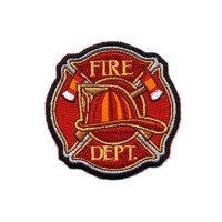 "Embroidered Iron On Patch - Fire Department Hat & Axes 3"" Patch"