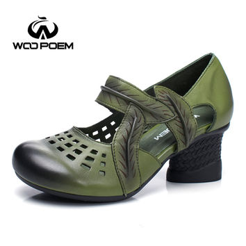 WooPoem Fashion Mary Janes Women Pumps Breathable Genuine Leather Pumps Wedges High Heels Shoes Spring Autumn Shoes Woman 7020