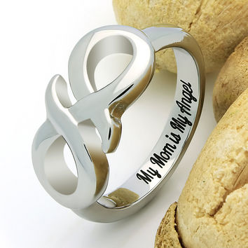 "Infinity Ring for Mother, Mom Promise Ring Double Infinity Ring ""My Mom is My Angel"" Engraved on Inside Best Gift for Mother Daughter Forever"