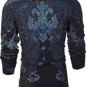 Licensed Official Xtreme Couture AFFLICTION Mens THERMAL T-Shirt SANDSTONE Wings Biker MMA UFC $58