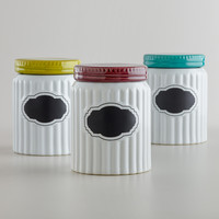 Ribbed Ceramic Chalkboard Canisters, Set of 3