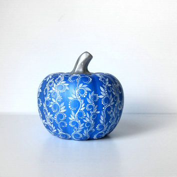 Pumpkin Hand painted Dark Blue and White ceramic pumpkin Blue Pumpkin