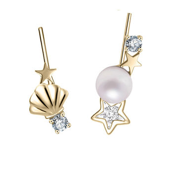 YAN & LEI Sterling Silver Seashell,Swarovski Crystal Star and Freshwater Pearl Asymmetric Ear Crawler