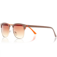 River Island Womens Beige and orange retro sunglasses