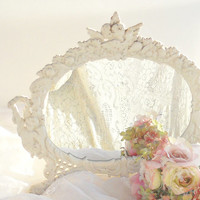 Vintage Romantic White French Farmhouse Cherubs Mirror, Rococo Style, Wedding, Distressed, Desktop, Cottage Style, Shabby Chic