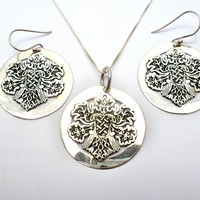 Sterling Silver Set Necklace Pierced Earrings Large Pendant Mexico