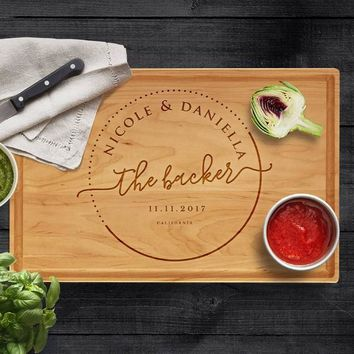 Personalized Cutting Board, Last Name & Date - Engraved Gifts for Parents Wood Cutting Board, Wedding Gift, Christmas, Housewarming