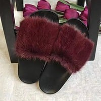 GIVENCHY Women Fashion Fur Slipper Sandals Shoes