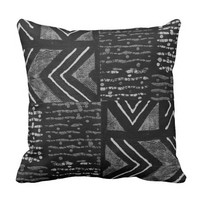 African Tribal Mud Cloth Throw Pillow