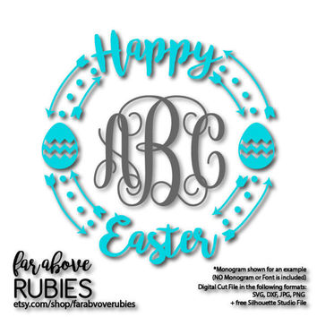 Happy Easter Monogram Wreath with Arrows Chevron Eggs (monogram NOT included) - SVG, DXF, png, jpg digital cut file for Silhouette or Cricut