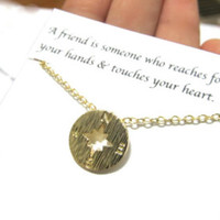 Gold Compass Necklace, A3 Friendship Compass Necklace, Best Friend Compass Necklace, Best Friend Gift, Compass Charm Pendant Necklace