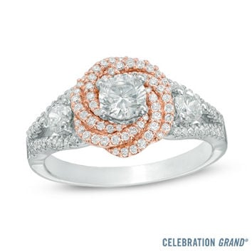 Celebration Grand® 1 CT. T.W. Diamond Orbit Frame Three Stone Engagement Ring in 14K Rose Gold (I-J/I1)