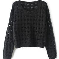 ROMWE   Hollow-out Black Jumper, The Latest Street Fashion