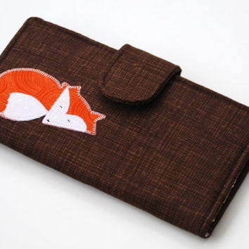 Fox Wallet, Handmade Applique Bifold Clutch, Trees, Leaves, Brown and Orange, Made to order