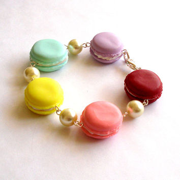 French Macaron Bracelet Macaroon Bracelet Kawaii Rainbow Cookie Bracelet Pastel Jewelry Miniature Food Jewelry