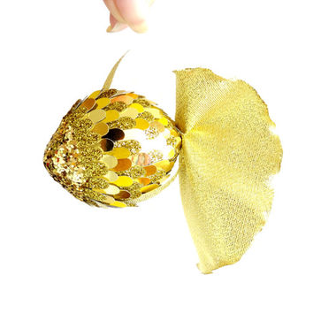 gold  fish pendant for home interior. 100% handmade. Sparkles gold, light gold flakes.  The tail of  gold brocade.