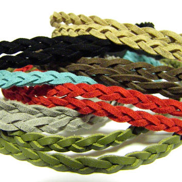 SUMMER SALE: Double Strand Braided Suede Leather Headband, Available in 7 Colors, Bohemian Boho Hippie