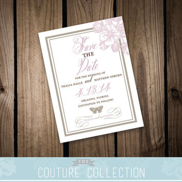 "SAVE the DATE card - ""Vintage Spring"" Wedding Invitation Suite - (Fully Customizable) Printable DIY Digital File Wedding Invitation"
