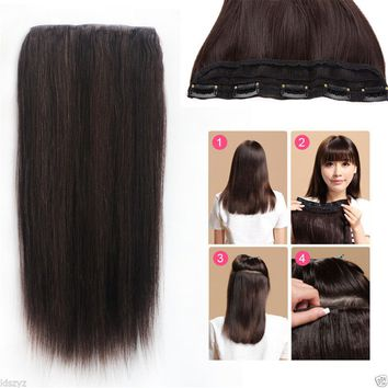 280g 300g 3/4 Half Head 5Clips One Hairpieces Clip In Real Human Hair Extensions