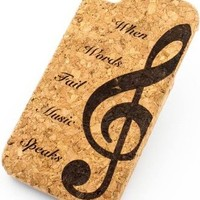 CORK CASE Snap On Cover skin for APPLE IPHONE 5C - WHEN WORDS FAIL MUSIC SPEAKS G CLEF NOTE musician rock star love
