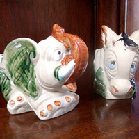 2 Vintage Political Ashtrays, Democratic Republican Ashtrays, 1 Elephant & 1 Donkey Ceramic Ashtray