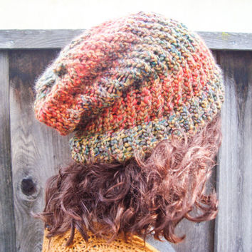Orange and Olive Green Big Slouch Beanie, Very Large Hand Knit Beanie, Fall Colors, Large Knit Cap, Hand Made Cap, Winter Hat, Gift Ideas