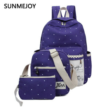 SUNMEJOY 2017 Women Backpack Three Set Casual Printing School Bag Female Canvas Backpacks for Teenage Girls Travel Bags mochila