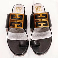 Givenchy Fashion New Solid Color Flip Flop Slippers Shoes Black