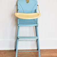 Doll High Chair, Vintage metal high chair, Amsco, Doll E Hichair, 1950s, mid century toy, blue, little girls toy, vintage metal toy