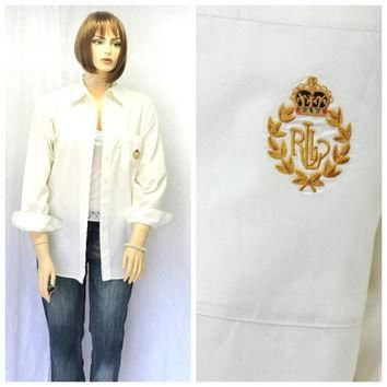 Vintage 80s Ralph Lauren soft white cotton oxford shirt L 1980s Lauren preppy long sle