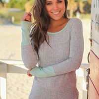 Heather Gray and Mint Long Sleeve Top