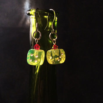 Transparent Dice Earrings - Yellow D6 and Red Swarovski Crystal