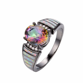 Size 6/7/8/9 Women Engagement Rainbow Topaz Fire Opal Ring 10KT Black Gold Filled Fashion Rings For Party Wedding Gifts
