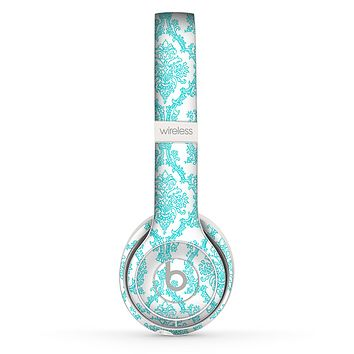 The White & Teal Damask Pattern Skin Set for the Beats by Dre Solo 2 Wireless Headphones