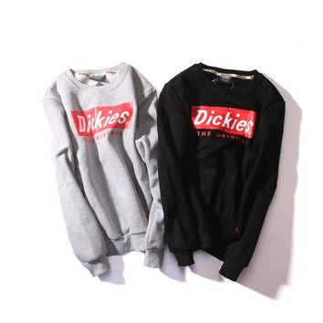 The new autumn and winter tide brand dickies round collar plus cashmere sweater classic men and women shirt
