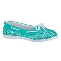 Aqua Splash Cindy Crochet Sequin Boat Shoe - Blue
