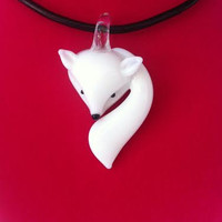 Fox Glass Pendant on 3mm Genuine Leather Corded Necklace - White Fox & Black Leather