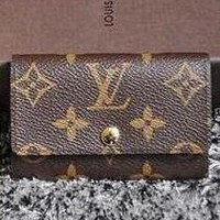 LV Louis Vuitton Stylish Women Men Monogram Print Canvas Button Key Pouch G