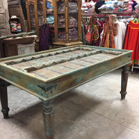 Antique Distressed Blue Dining Table Haveli Old Door Carved Study Tables Decorative Bohemian Chic Southern Tuscan FREE SHIP